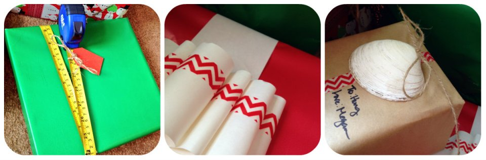 Three fun wrapping ideas: tape measure, washi tape on adding machine paper and a simple shell with twine