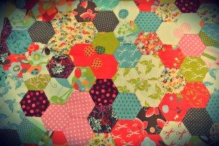 Handstitched hexagons