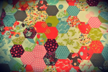Handstitched hexagons