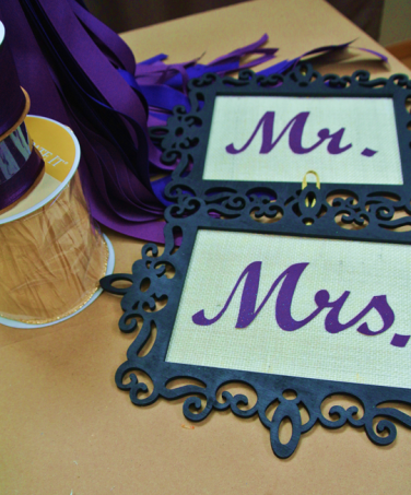 Wedding chair signs Mr and Mrs - http://goo.gl/hRTDMG