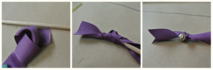 Ribbon wands easy diy for any party or wedding odds hens attach the bell to the end of each one with knot on the inside and loop through the other so that it pulls tight to the top of the dowel knot again solutioingenieria Gallery