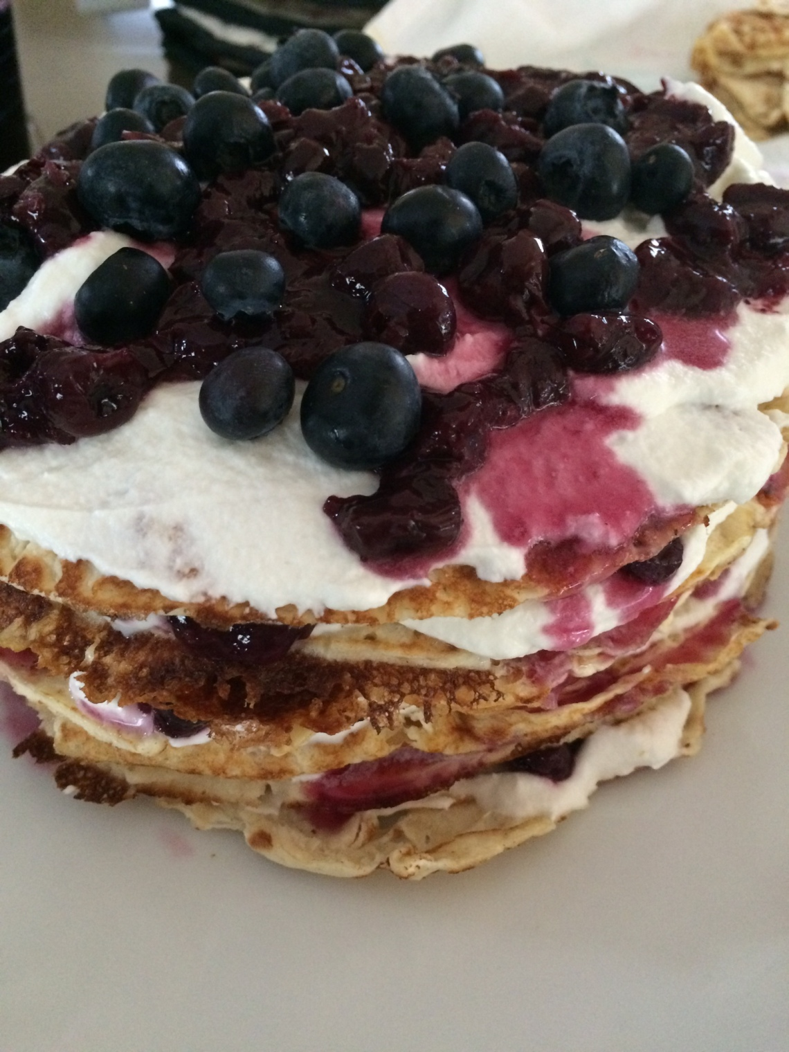 fruit stack cake pancake crepe hack tutorial IKEA hack DIY recipe brunch dessert topping cream cointreau layers
