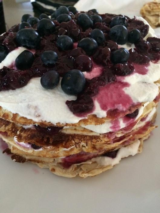 fruit stack cake pancake crepe hack tutorial IKEA hack DIY recipe brunch dessert topping cream cointreau layers