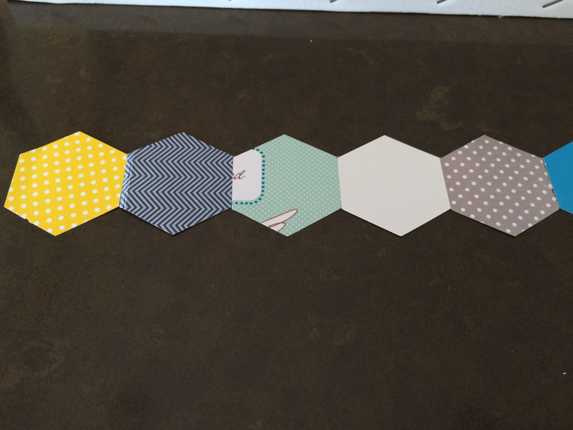 line up hexagons decoupage