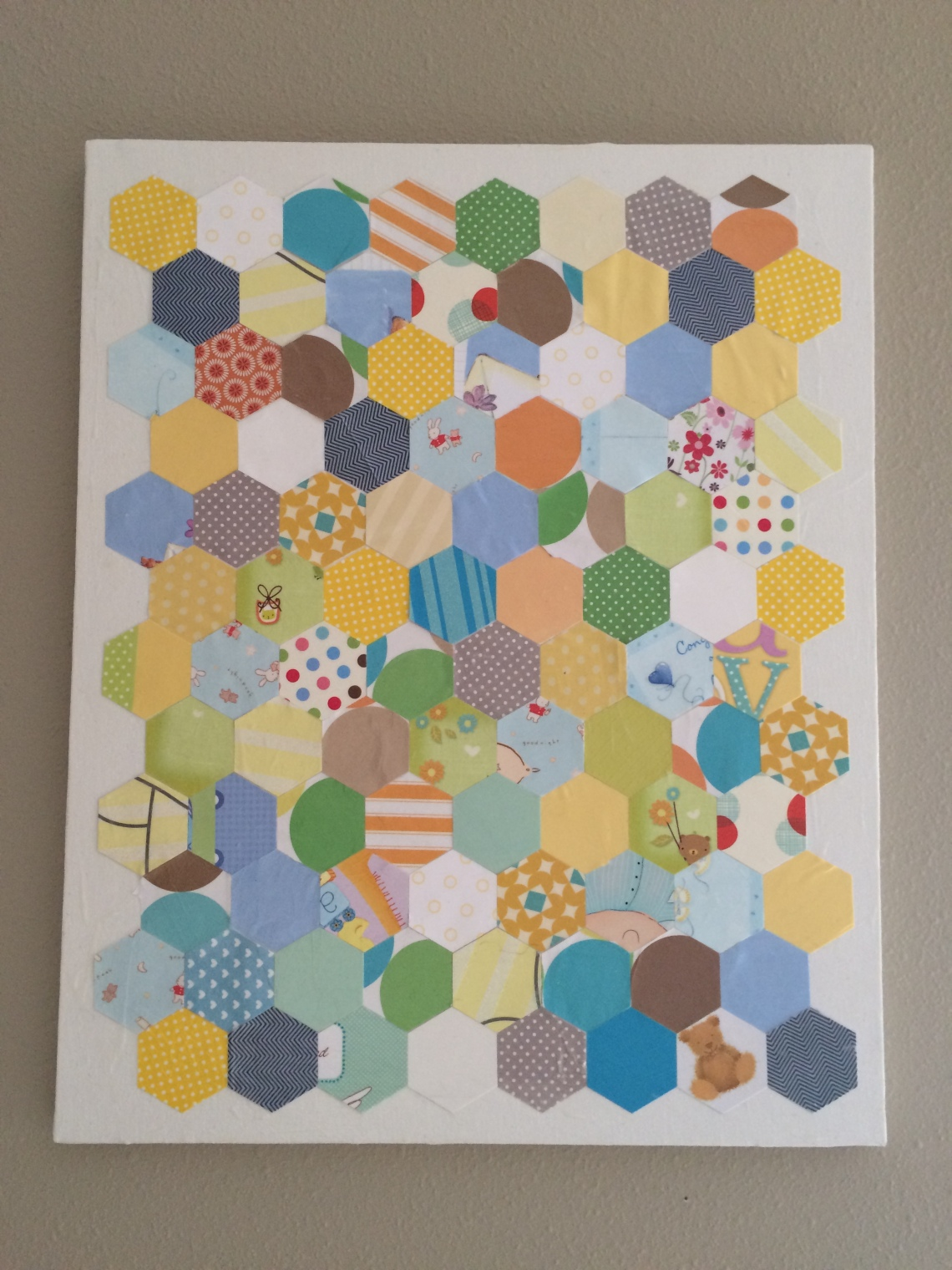 final card decoupage wall art baby card repurpose hexagon