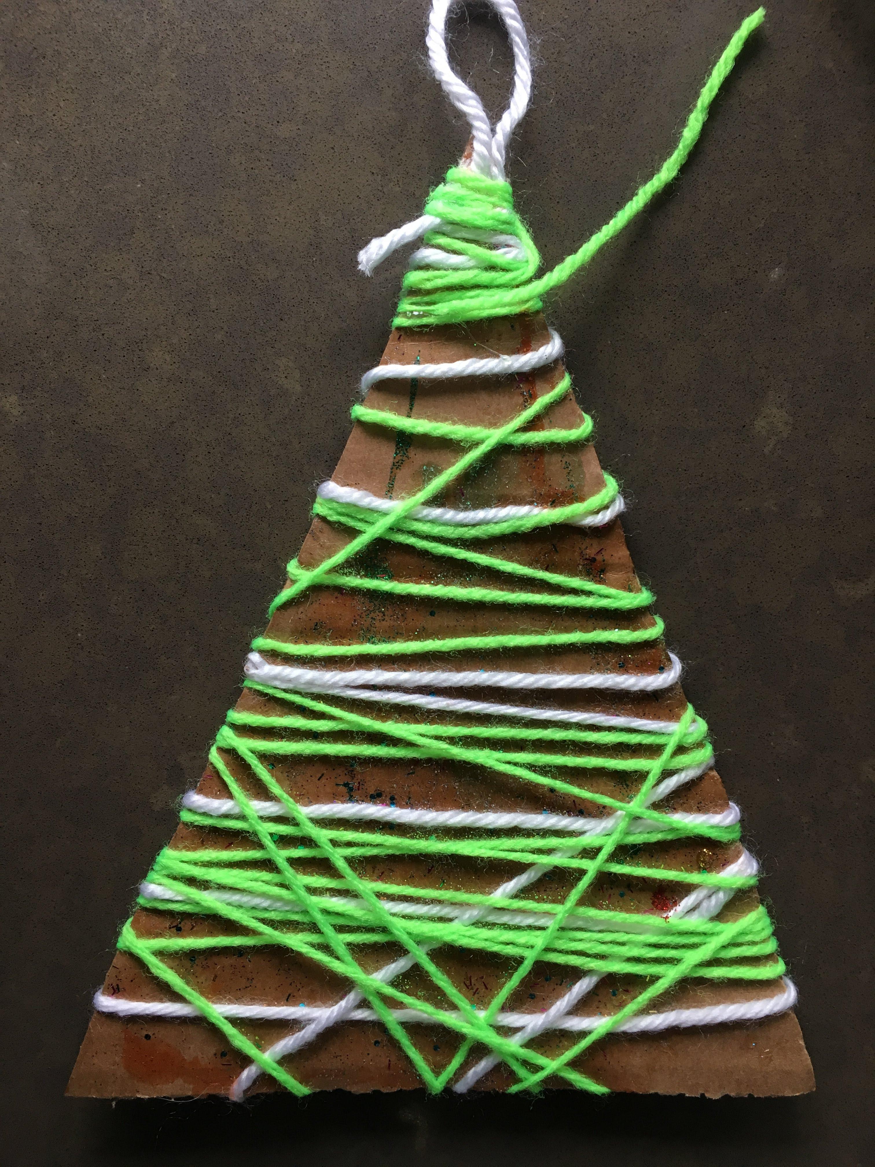 Yarn Christmas Tree Ornament- Holiday Kid Crafting – Odds & Hens ...