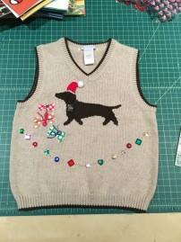 Weiner Dog / Dachshund ugly Christmas Holiday toddler sweater vest upcycle