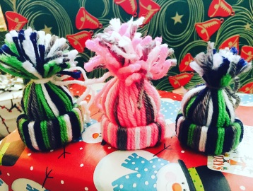 yarn hat ornaments