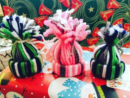 yarn hat ornaments