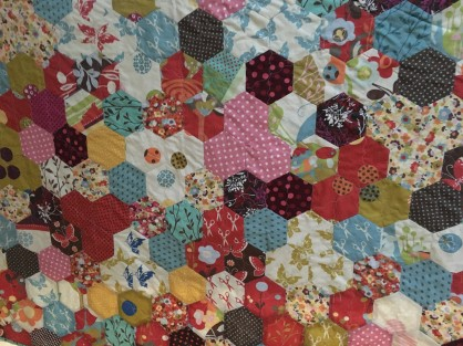 English paper pieced hexagon quilt - pieced all by hand!