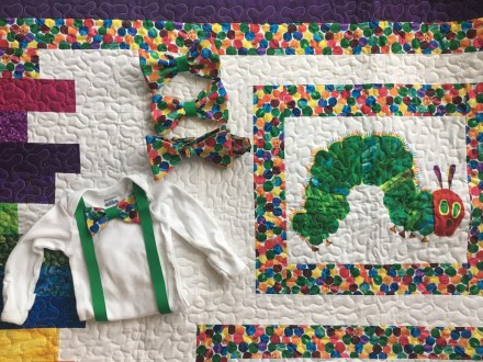 Hungry Caterpillar collection - bowtie, onsie, hairbow and quilt